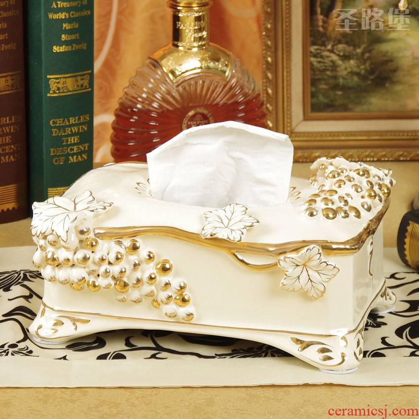 SAN road fort European ceramic tissue box carton creative sitting room adornment tissue boxes furnishing articles packs a mail