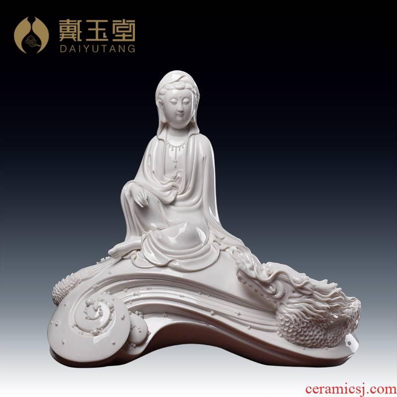 Yutang dai ceramic art furnishing articles home decoration Su Xianzhong master limited edition leading guanyin/D30-41