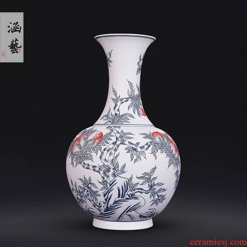 Jingdezhen ceramics hand - made porcelain unglazed flat peach sitting room porch of new Chinese style household adornment handicraft furnishing articles
