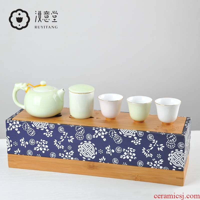 Ceramic kung fu tea set with tea tray of a complete set of gift boxes white porcelain of jingdezhen holiday gift hand grasp pot of household