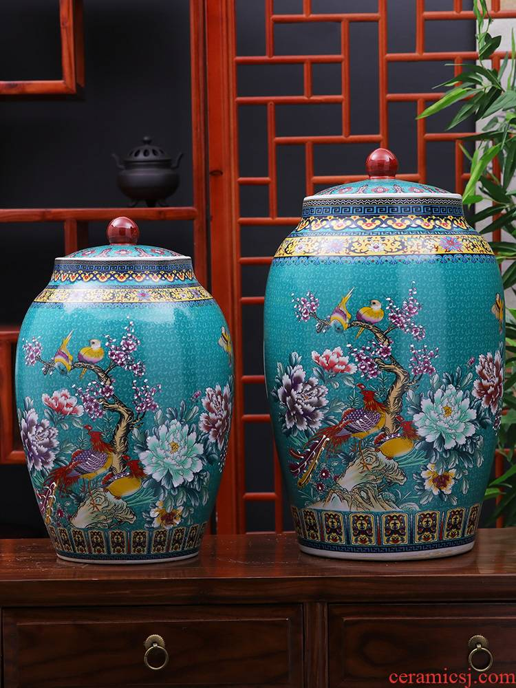 Jingdezhen ceramic barrel 30 jins home 20 jins with cover seal insect - resistant moistureproof tank home furnishing articles