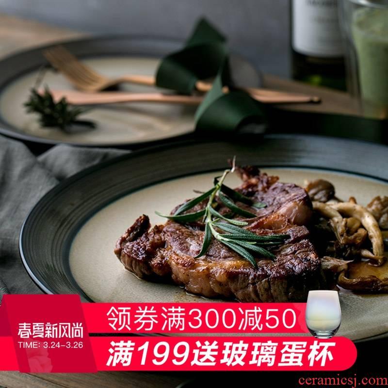 Eat WuSu green ceramic plate west steak dish dish dish dish dish restaurant meals plate fruit breakfast tray