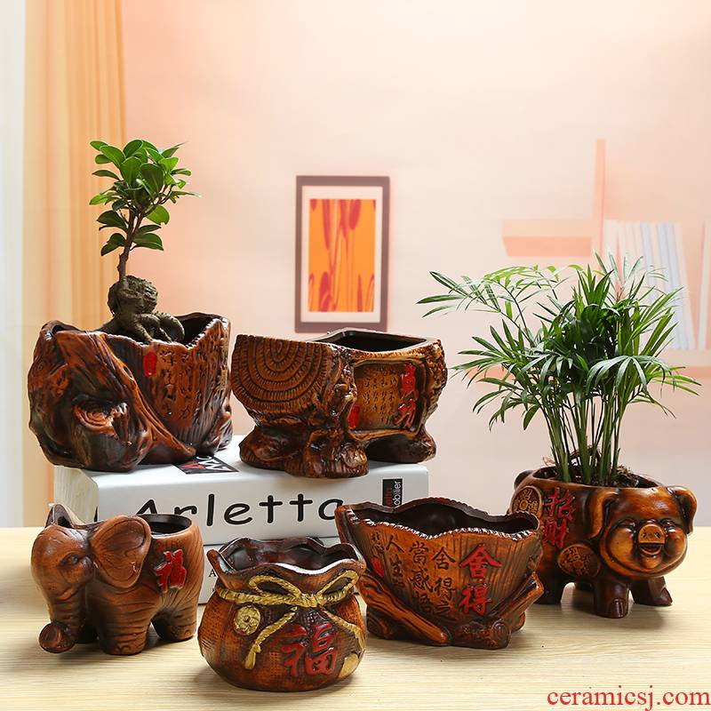 Europe type restoring ancient ways is rich tree banyan ceramics flowerpots asparagus, green plant, small potted flowers miniascape flower implement desktop furnishing articles