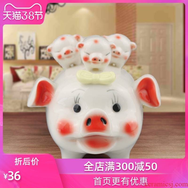 Creative ceramic piggy bank, lovely pig can save desirable piggy bank COINS home baby gift move
