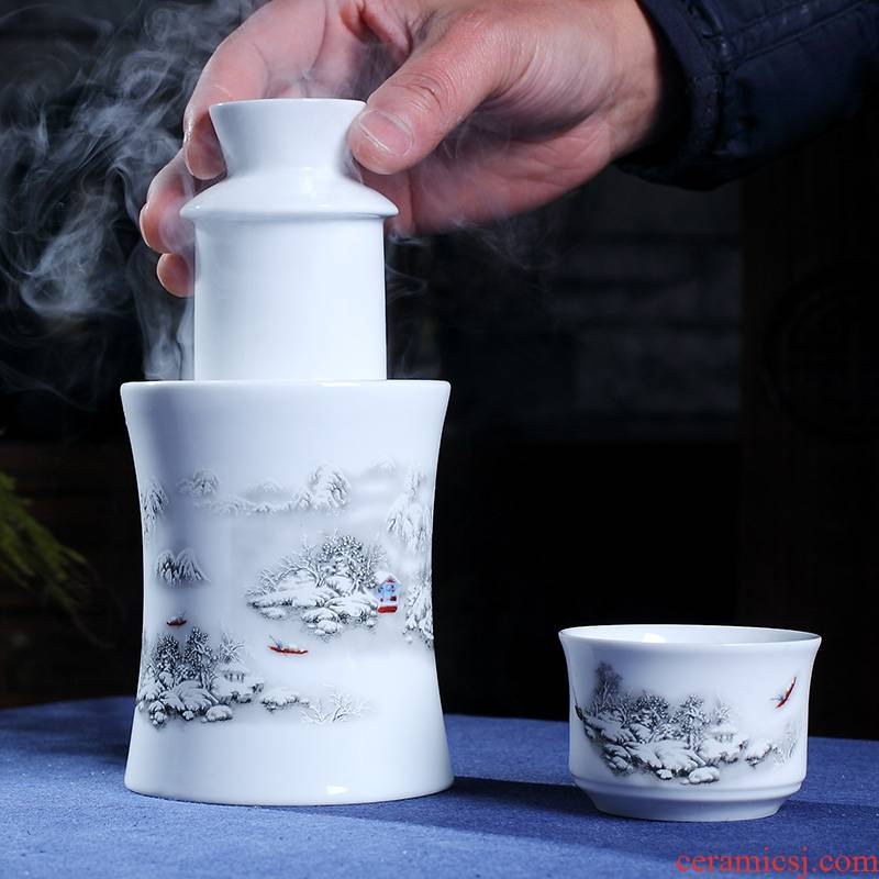 Temperature wine pot hot hip household jingdezhen ceramic wine suits for three two rice wine liquor wine cup of hot Temperature