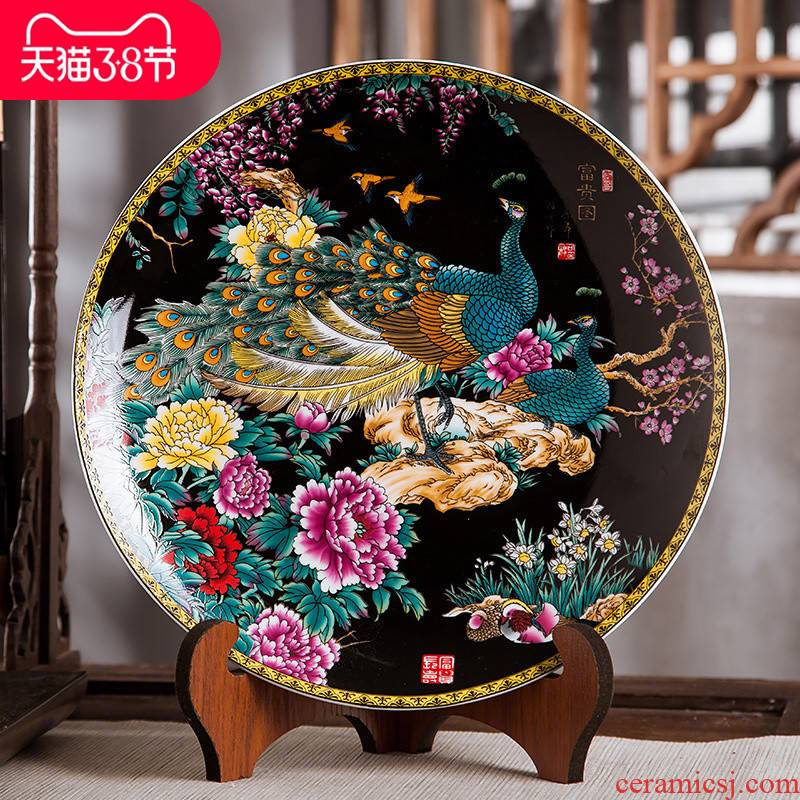 Jingdezhen ceramics furnishing articles home decorations hanging dish handicraft sitting room ark figure decoration plate of black with a silver spoon in its ehrs expressions using
