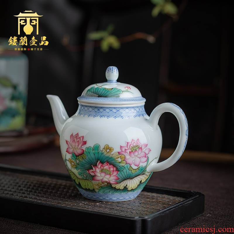 Jingdezhen ceramic all hand - made pastel lotus ewer household kung fu tea set single pot teapot hand pot of tea