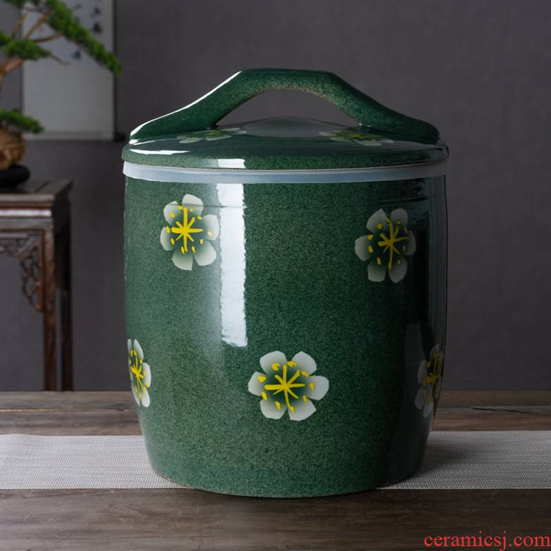Jingdezhen ceramic barrel with cover household seal 10 jins 20 to 30 jins rice such as pot old insect - resistant rice storage box