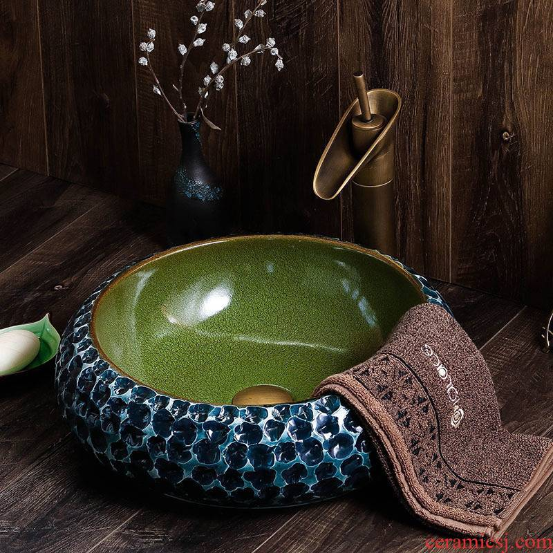 The stage basin of jingdezhen ceramic plate to wash your hands round Chinese style household archaize hotel toilet lavatory move