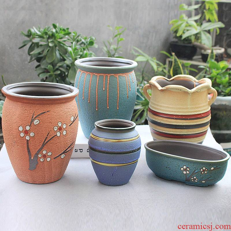European fleshy flower pot through tall) tao meaty plant flower implement mercifully glaze creative flowerpot ceramic contracted