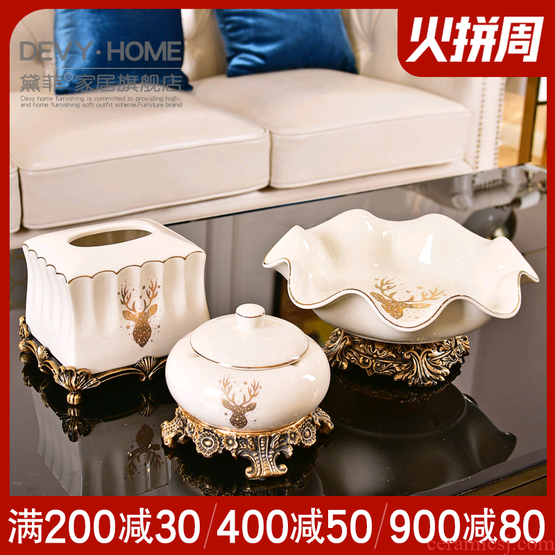 American light three key-2 luxury ceramic bowl suit I and contracted sitting room tea table ashtray tissue box decorative furnishing articles