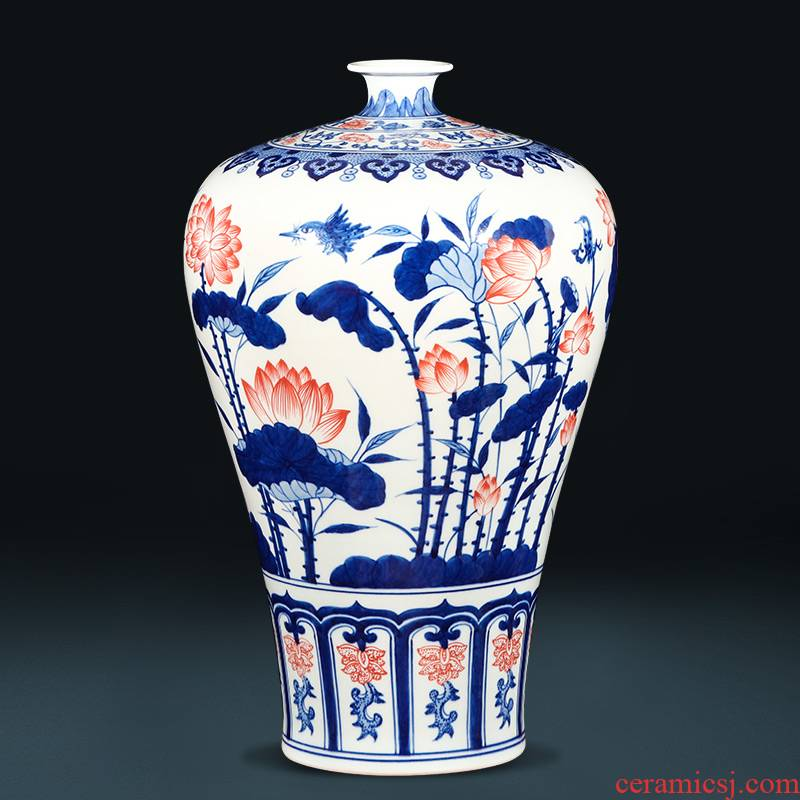 Jingdezhen ceramics hand - made archaize lotus of blue and white porcelain vase of new Chinese style living room TV cabinet porch place