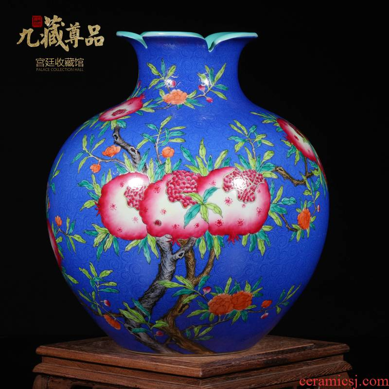 Archaize grilled pastel flowers, pomegranate guanyao antique antique vase jingdezhen ceramic home sitting room adornment is placed