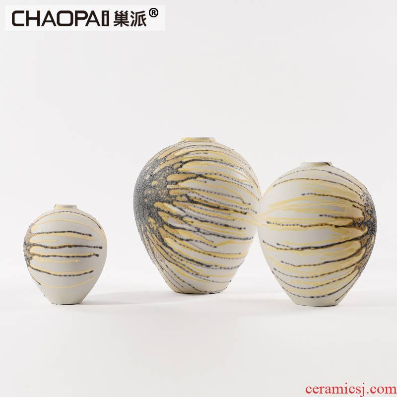 New Chinese style manual ceramic vase paunch art postmodern sitting room tea table table porch handicraft furnishing articles