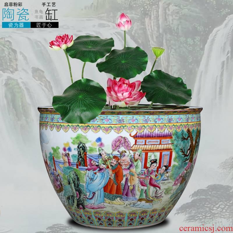 Jingdezhen ceramic aquarium water lily sitting room place to raise a goldfish bowl bowl bowl lotus lotus cylinder cylinder tortoise GangPen the flood water