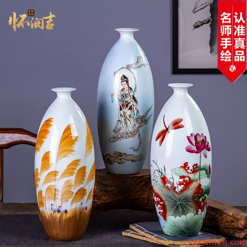 Jingdezhen ceramic claborate - style painting hand - made vases, flower arranging Chinese style household living room TV cabinet decoration handicraft furnishing articles
