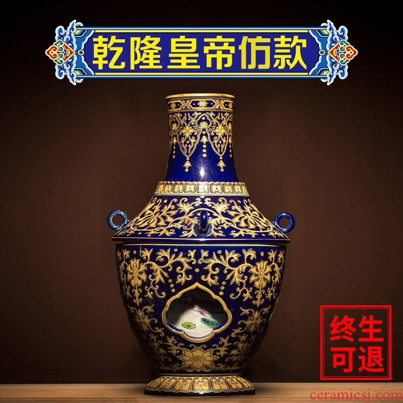 Better sealed up with jingdezhen ceramic big vase furnishing articles sitting room hand - made porcelain antique Chinese blue and white porcelain household act the role ofing is tasted