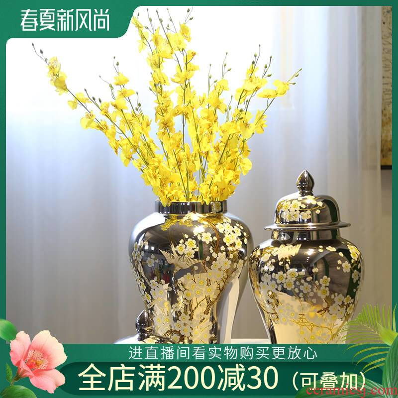 General silver pot vase furnishing articles jingdezhen ceramic piggy bank caddy fixings candy jar decoration decoration flower receptacle