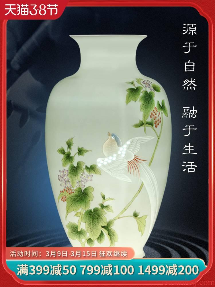 Jingdezhen ceramics furnishing articles hand - made vases, flower arranging living room TV ark, of Chinese style household handicraft ornament
