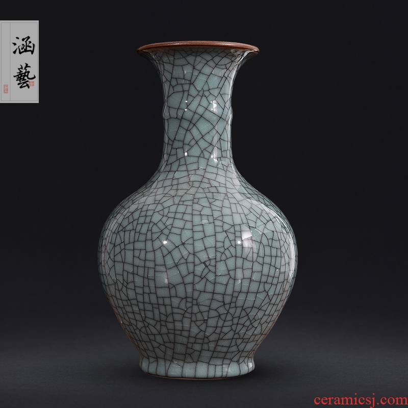 Archaize of jingdezhen ceramics up crack do old vase classic Chinese style living room decoration crafts are arranging flowers