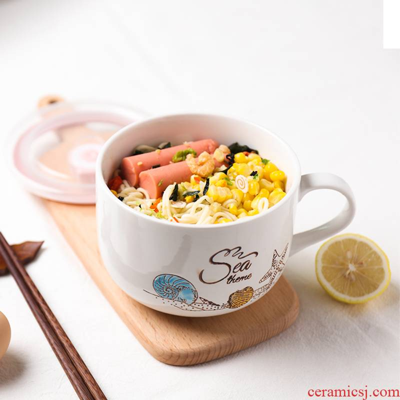 Shun cheung ceramic preservation bowl of household contracted dorm mercifully surface cup students rainbow such as bowl with cover microwave ceramic cup Europe type