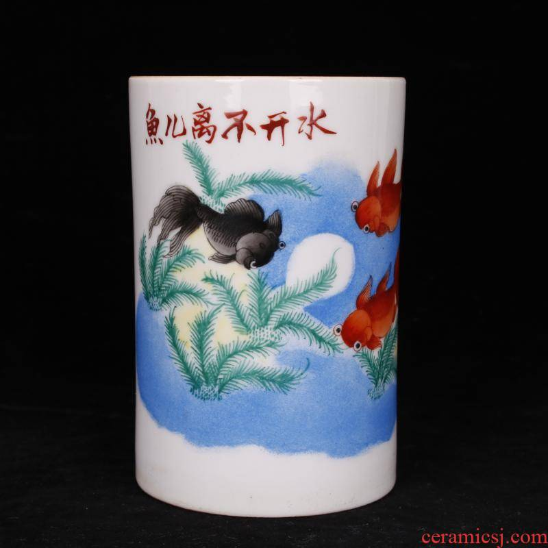 Archaize of jingdezhen porcelain all hand fish play pen container antique Chinese style restoring ancient ways the study desk decoration as furnishing articles