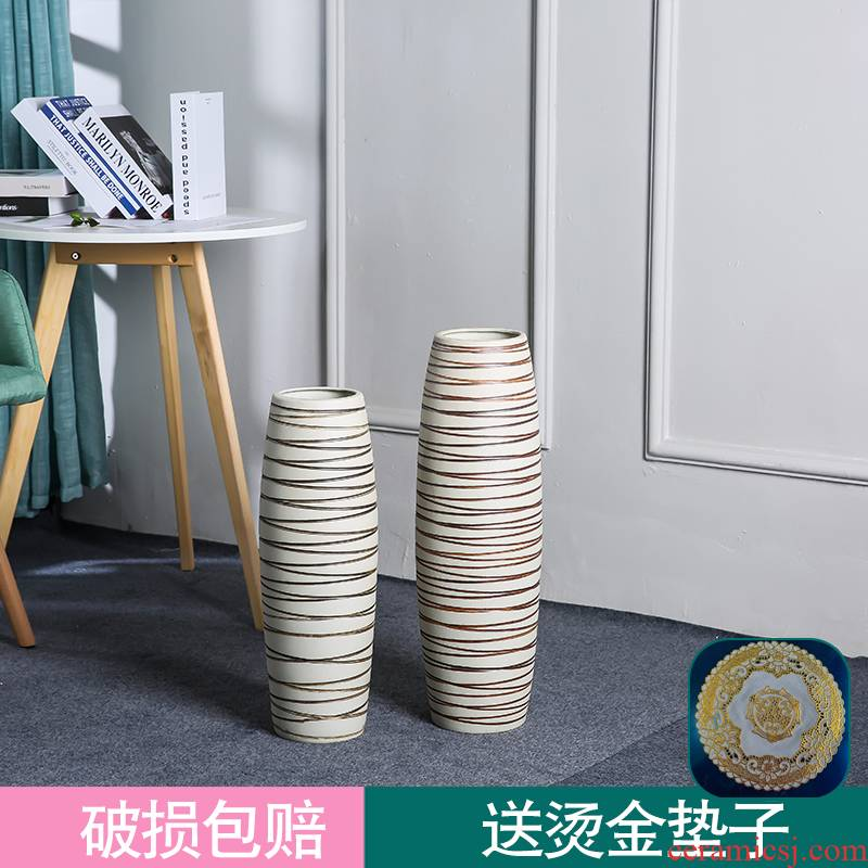 Sitting room ground vase decoration furnishing articles lucky bamboo dried flowers flower arrangement large American high jingdezhen ceramics