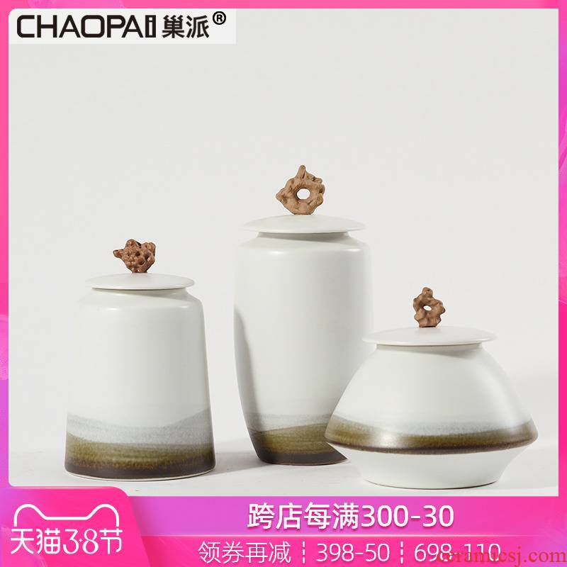 New Chinese style ceramic storage tank general furnishing articles sales hall chamber partition cabinet screen white soft decoration