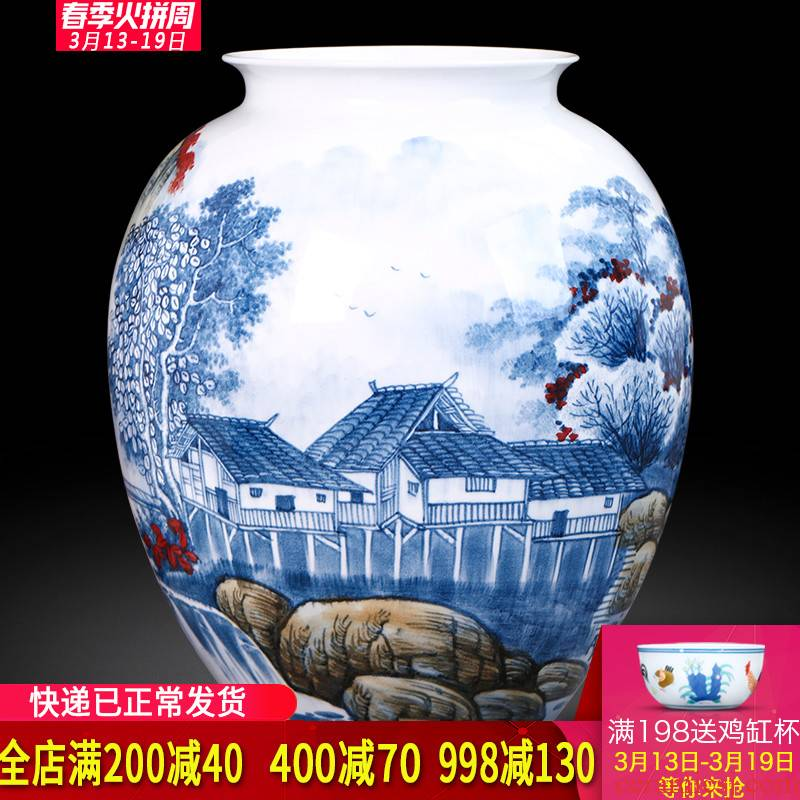 The Master of jingdezhen ceramics hand - made vases, flower arrangement and calligraphy scroll cylinder Chinese style living room a study place