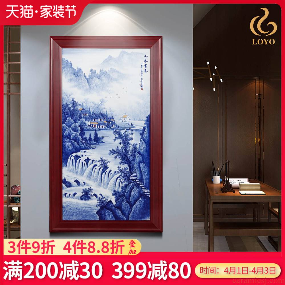 Jingdezhen ceramics porcelain plate painting landscape picture scroll adornment home sitting room sofa background wall paintings