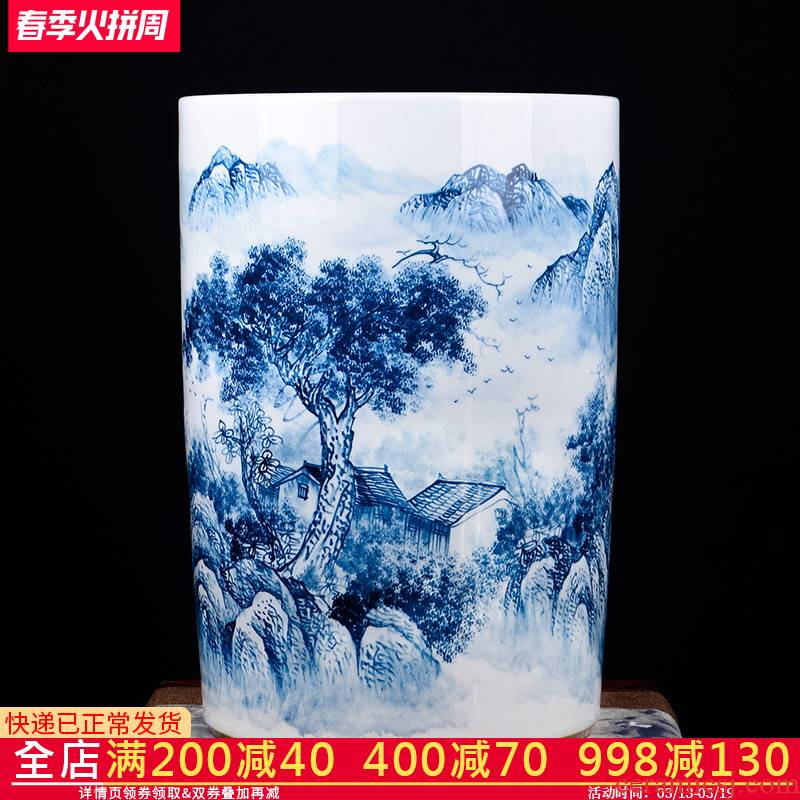 Jingdezhen ceramics hand - made painting and calligraphy scrolls cylinder barrel large sitting room ground of blue and white porcelain vase calligraphy and painting to receive barrels