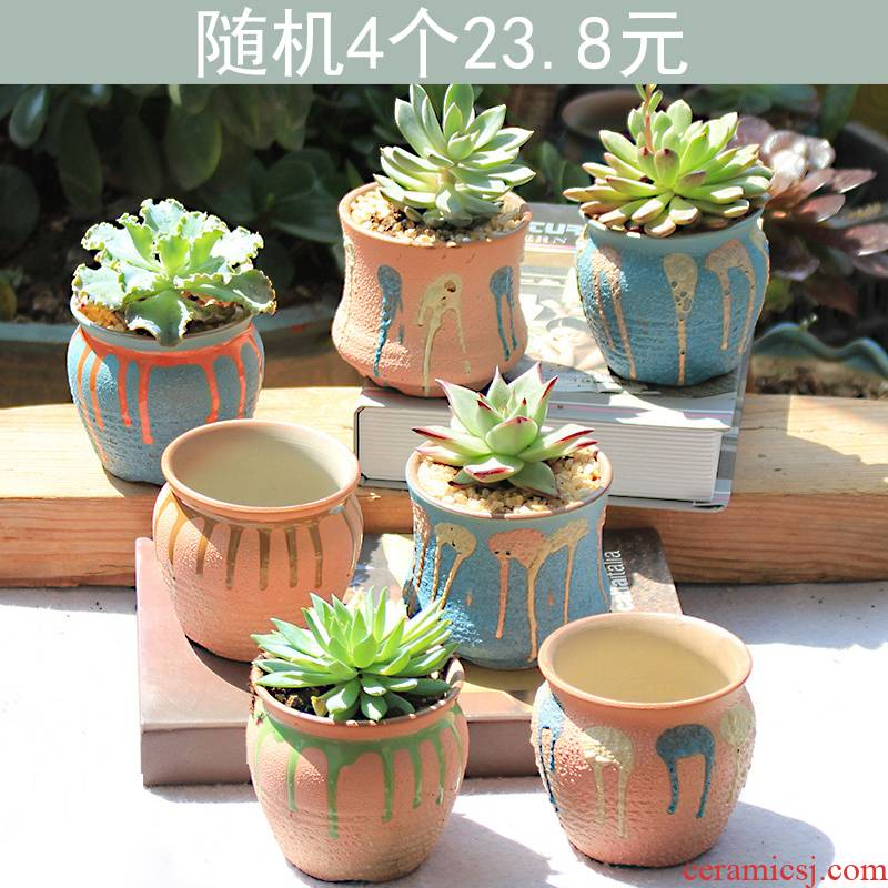 Mercifully glaze flower pot random quaternity ceramic breathable creative move coarse pottery meat meat the plants flower pot in restoring ancient ways
