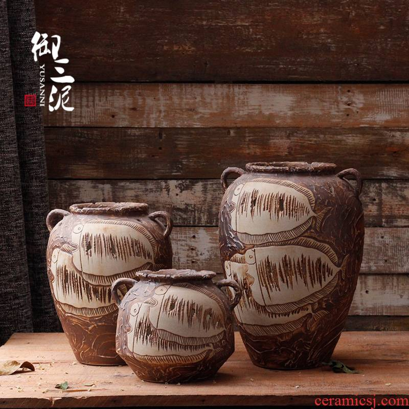 Pure manual its thick clay TaoHua flower POTS dry flower POTS