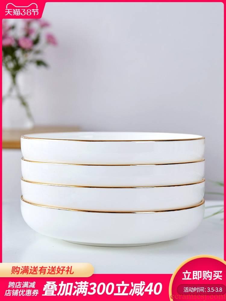 Jingdezhen cutlery sets up phnom penh 0 home round the ipads porcelain ceramic white porcelain dish deep litter of six
