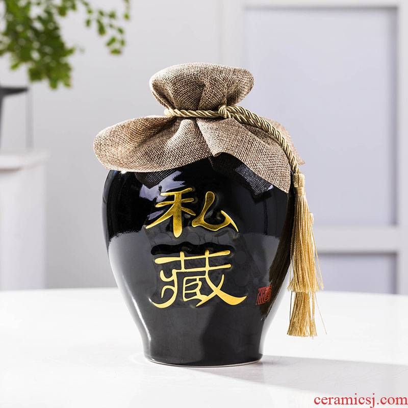 Possession of of primitive simplicity of jingdezhen black 1 catty 2 jins of 3 kg 5 jins of 10 jins to bottle wine jars it a jar of wine