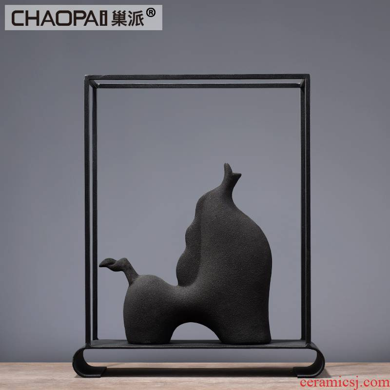 Nordic contracted ceramic animal furnishing articles of modern household soft adornment style living room decoration wine