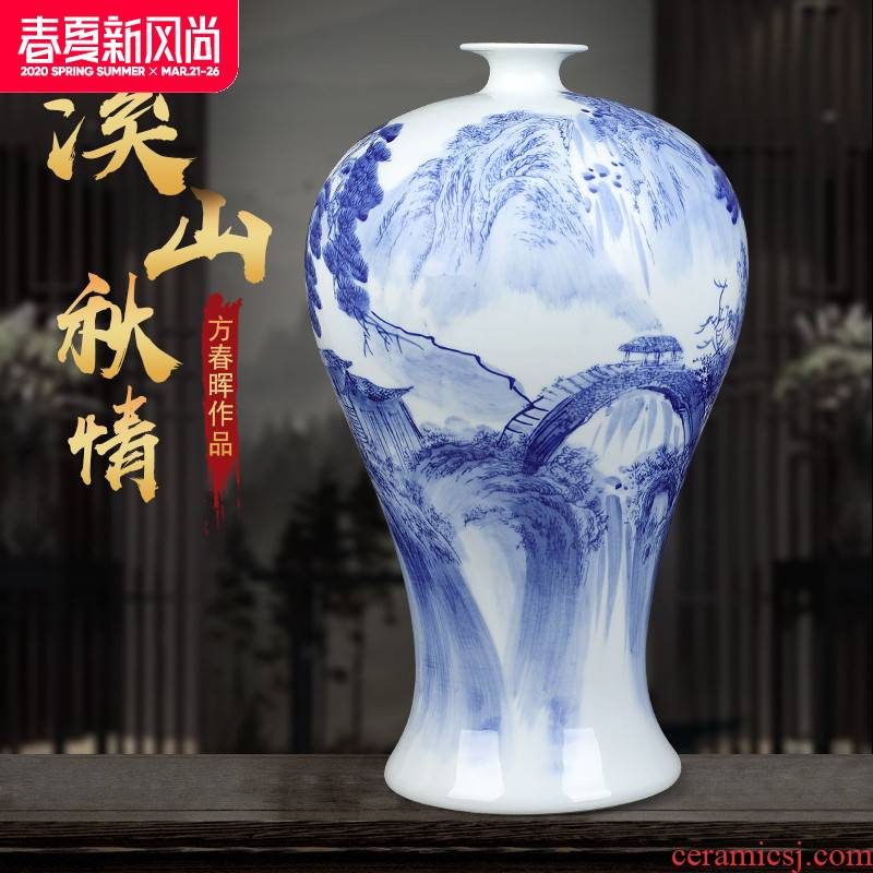 Jingdezhen ceramics vase hand - made of blue and white landscape mei bottle home office desktop sitting room adornment is placed
