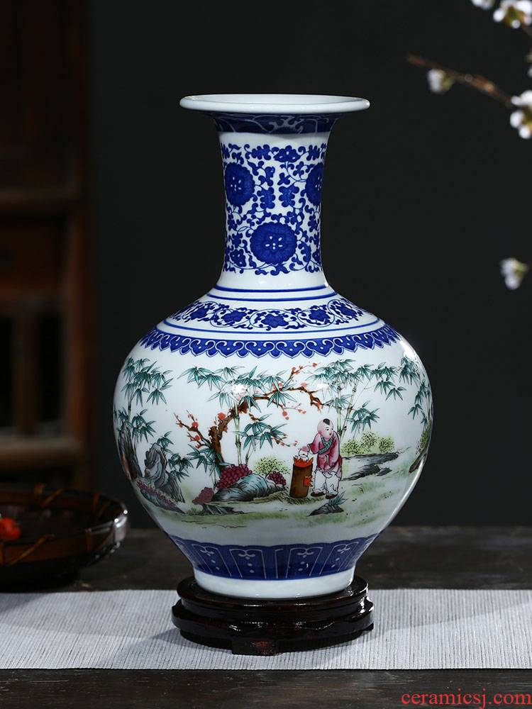 Jingdezhen ceramic furnishing articles antique blue and white porcelain vases, flower arrangement is lucky bamboo home sitting room TV ark, adornment