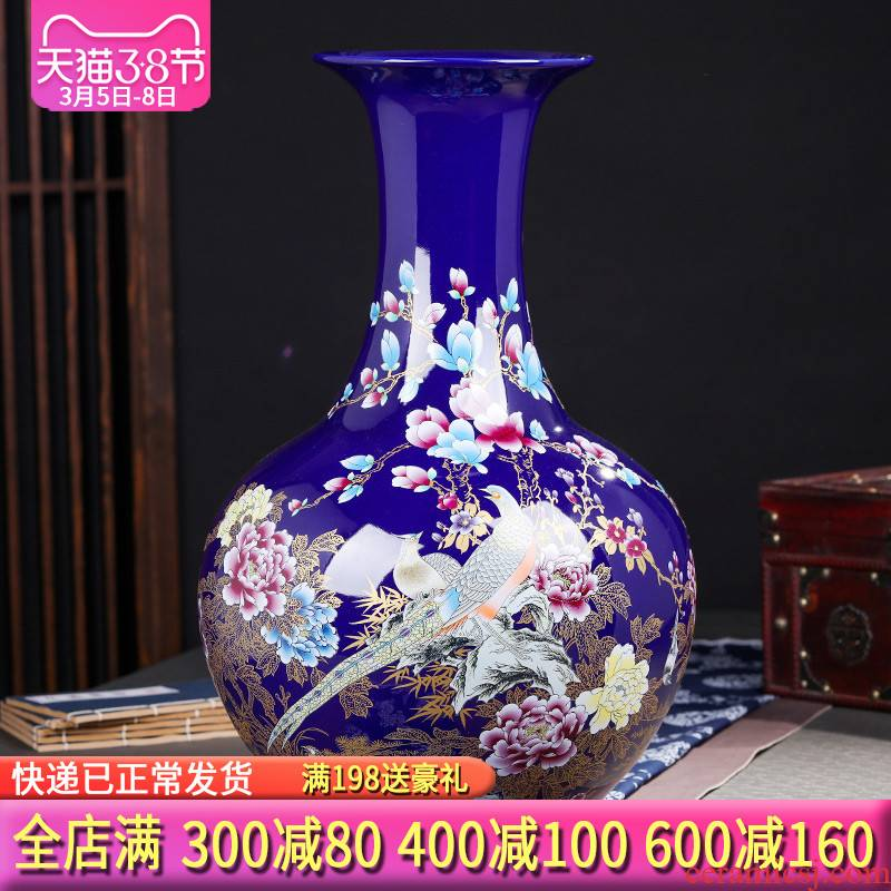 Jingdezhen ceramics of large vases, flower arranging new Chinese style living room TV cabinet porch place large ornament
