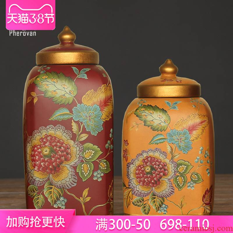 American storage tank furnishing articles European ceramic candy jar decorative POTS POTS with cover general as cans of soft outfit decoration
