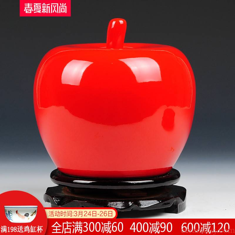 China jingdezhen ceramics pure color red apples furnishing articles household adornment handicraft decoration wedding gift
