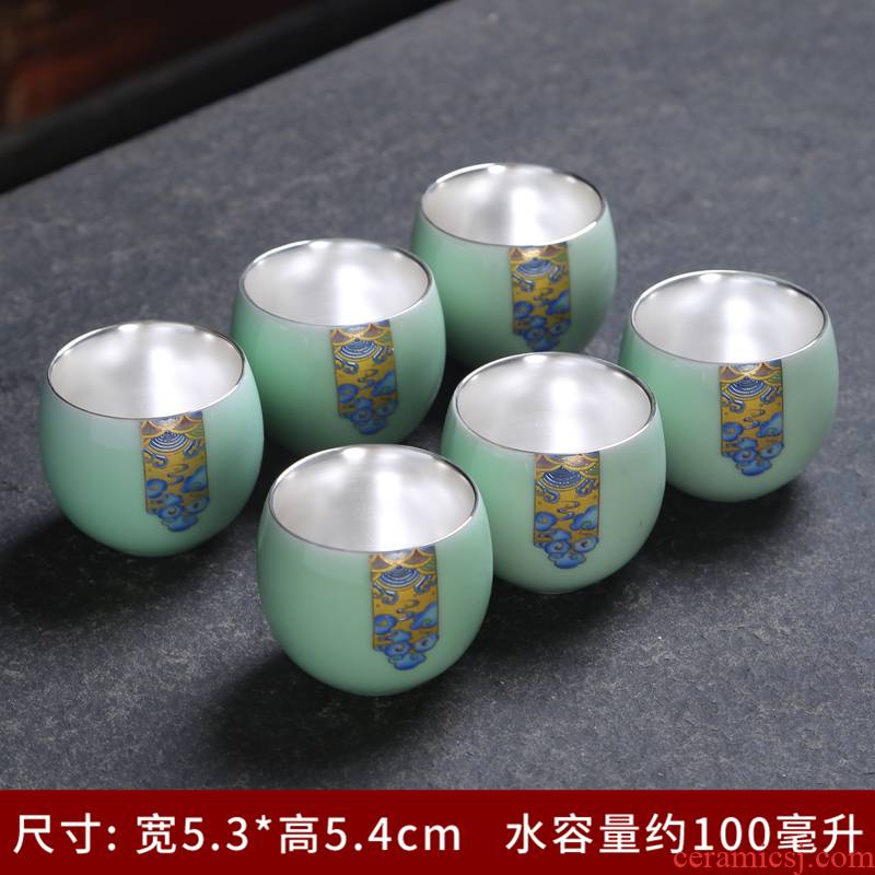 Jingdezhen 999 sample tea cup silver cup silver tea set ceramic coppering. As silver cup kongfu master cup single CPU