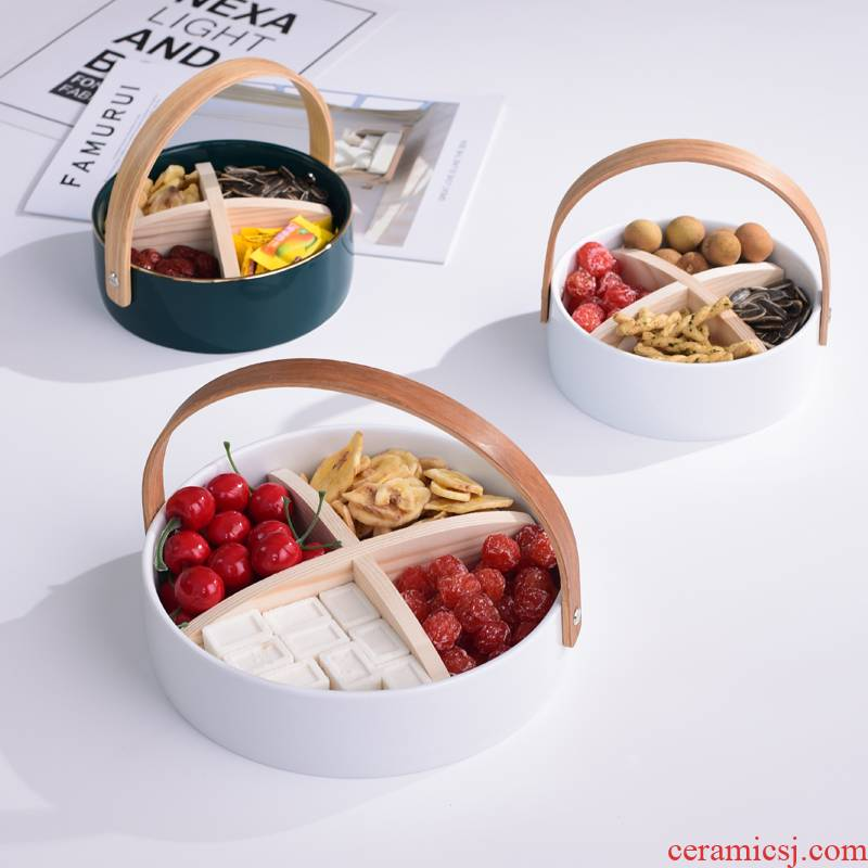 The Nordic ceramic portable fruit bowl creative living room table storage disc frame dried fruit snacks tea table plate decoration