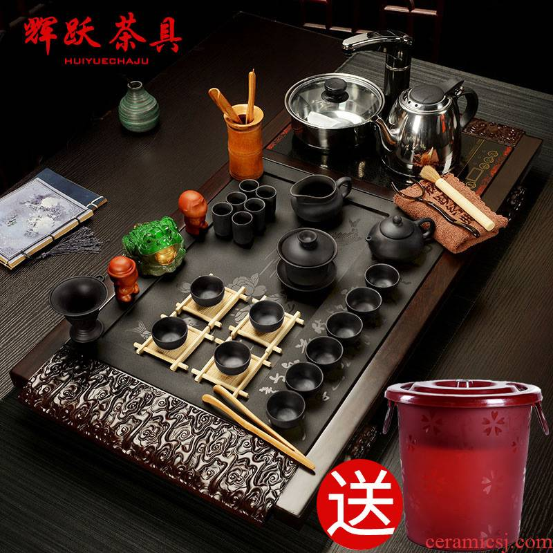Hui make induction cooker hua limu ebony suit ground of a complete set of violet arenaceous kung fu tea set sharply stone tea tray