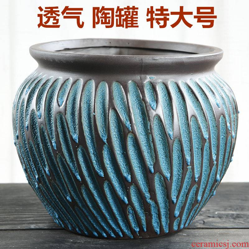 Fleshy flowerpot oversized basin of the old running high retro breathable creative contracted crude some ceramic porcelain clay large flower pot