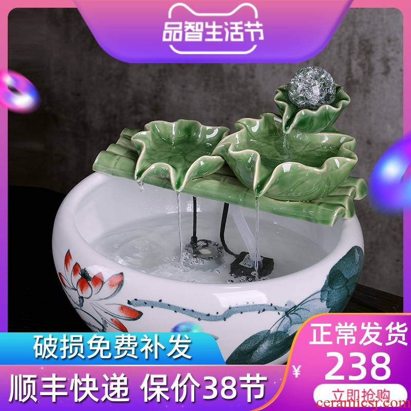 Jingdezhen ceramic aquarium small home sitting room aquarium desktop landscape tortoise cylinder wheel biotope feng shui