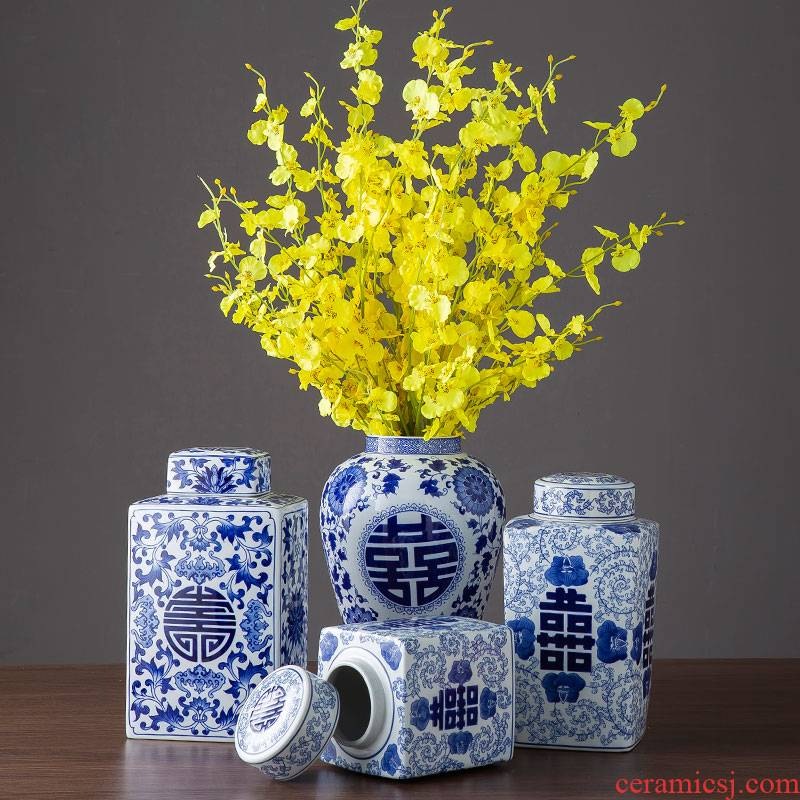 Blue and white porcelain jar of new Chinese style happy character jar jar home sitting room living room TV cabinet wine cabinet decoration ceramics furnishing articles