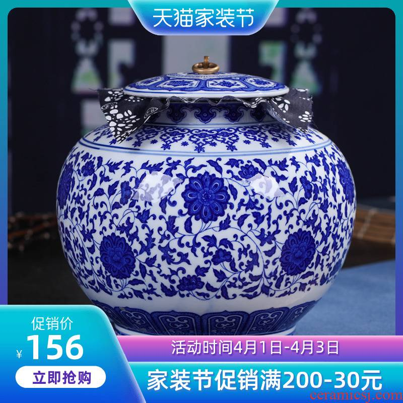 Jingdezhen ceramic large in blue and white porcelain tea pot of pu 'er tea packaging household ceramics storage tank