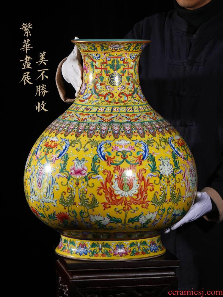 Jia lage jingdezhen vase interior furnishing articles YangShiQi system in qianlong pastel yellow lotus flower grain okho bottle