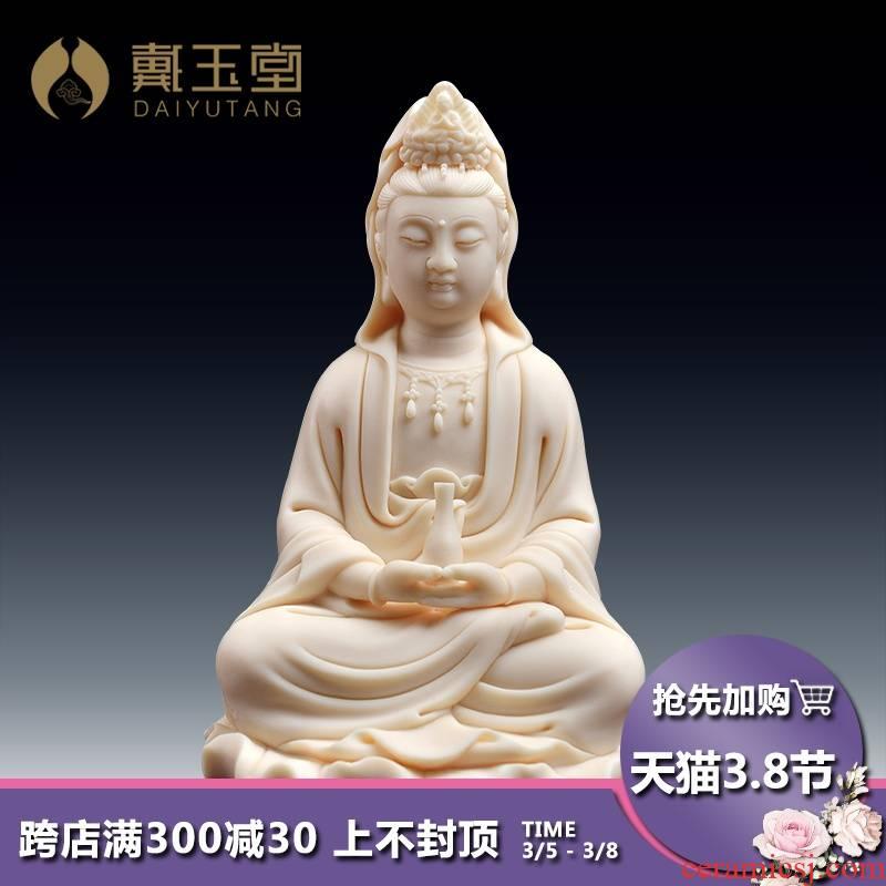 Yutang dai ceramic Buddha with small jade Buddha avalokiteshvara like offering home furnishing articles red porcelain take charge of guanyin